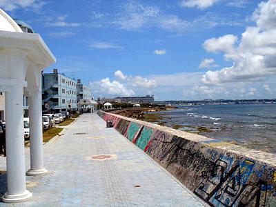 海岸沿いに数箇所のポイントがある。手軽に本格的なビーチダイブが楽しめる
